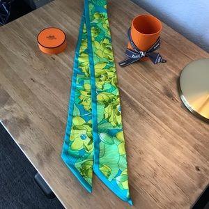 Hermès Twilly scarf, blue & green floral print